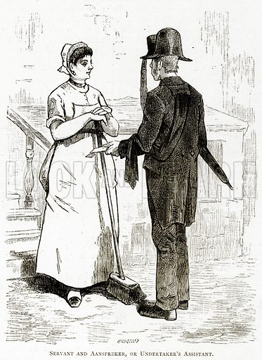 Servant and Aanspreker, or Undertaker's Assistant. Illustration from Pictures from Holland by Richard Lovett (Religious Tract Society, 1887).