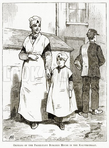 Orphans of the Protestant Burgher House in the Kalverstraat. Illustration from Pictures from Holland by Richard Lovett (Religious Tract Society, 1887).