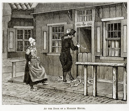 At the door of Marken House. Illustration from Pictures from Holland by Richard Lovett (Religious Tract Society, 1887).