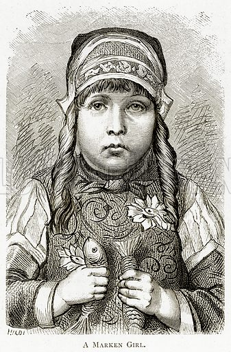 A Marken Girl. Illustration from Pictures from Holland by Richard Lovett (Religious Tract Society, 1887).