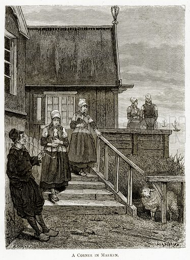 A Corner in Marken. Illustration from Pictures from Holland by Richard Lovett (Religious Tract Society, 1887).