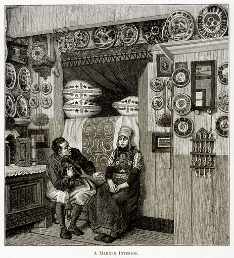 A Marken interior. Illustration from Pictures from Holland by Richard Lovett (Religious Tract Society, 1887).
