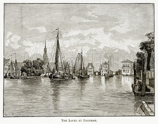 The Locks at Zaandam. Illustration from Pictures from Holland by Richard Lovett (Religious Tract Society, 1887).
