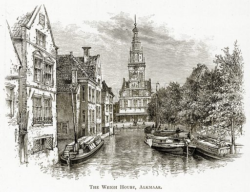 The Weigh House, Alkmaar. Illustration from Pictures from Holland by Richard Lovett (Religious Tract Society, 1887).