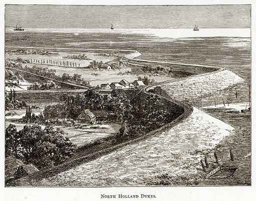 North Holland Dykes. Illustration from Pictures from Holland by Richard Lovett (Religious Tract Society, 1887).