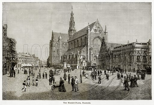 The Market-Place, Haarlem. Illustration from Pictures from Holland by Richard Lovett (Religious Tract Society, 1887).