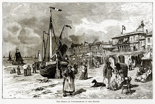 The Beach at Scheveningen in the Season. Illustration from Pictures from Holland by Richard Lovett (Religious Tract Society, 1887).