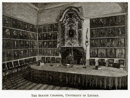 The Senate Chamber, University of Leyden. Illustration from Pictures from Holland by Richard Lovett (Religious Tract Society, 1887).
