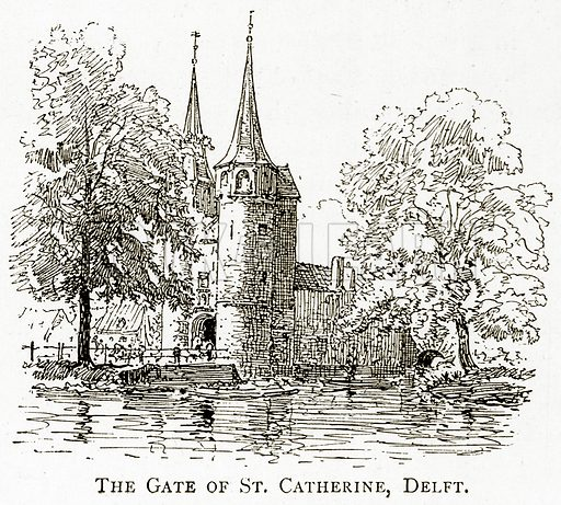 The Gate of St Catherine, Delft. Illustration from Pictures from Holland by Richard Lovett (Religious Tract Society, 1887).