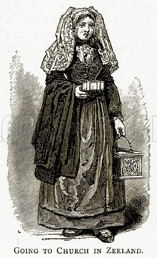 Going to Church in Zeeland. Illustration from Pictures from Holland by Richard Lovett (Religious Tract Society, 1887).