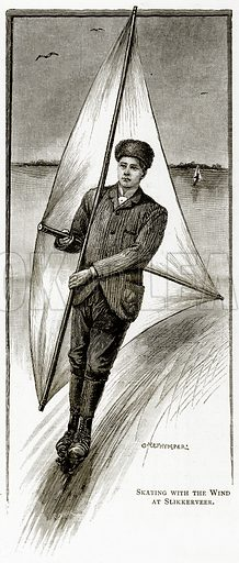 Skating with the Wind at Slikkerveer. Illustration from Pictures from Holland by Richard Lovett (Religious Tract Society, 1887).