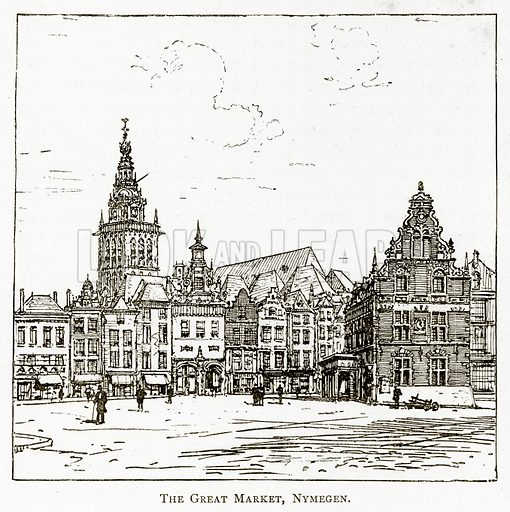 The Great Market, Nymegen. Illustration from Pictures from Holland by Richard Lovett (Religious Tract Society, 1887).