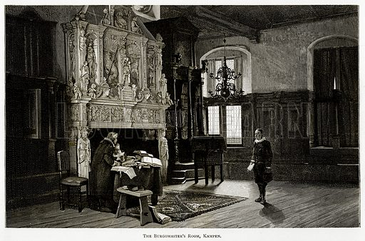 The Burgomaster's Room, Kampen. Illustration from Pictures from Holland by Richard Lovett (Religious Tract Society, 1887).