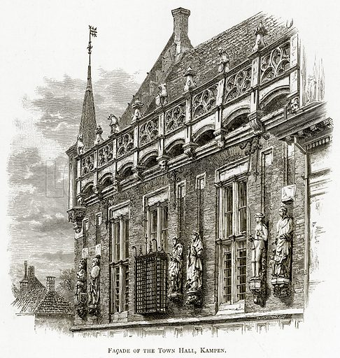 Facade of the Town Hall, Kampen. Illustration from Pictures from Holland by Richard Lovett (Religious Tract Society, 1887).