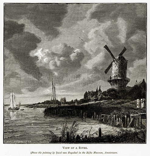 View of a River. Illustration from Pictures from Holland by Richard Lovett (Religious Tract Society, 1887).
