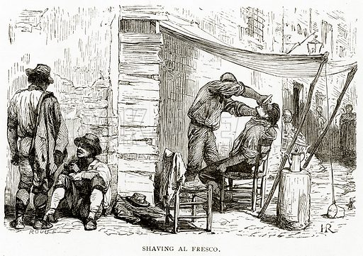 Shaving Al Fresco. Illustration from Italian Pictures by Samuel Manning (Religious Tract Society, c 1880).