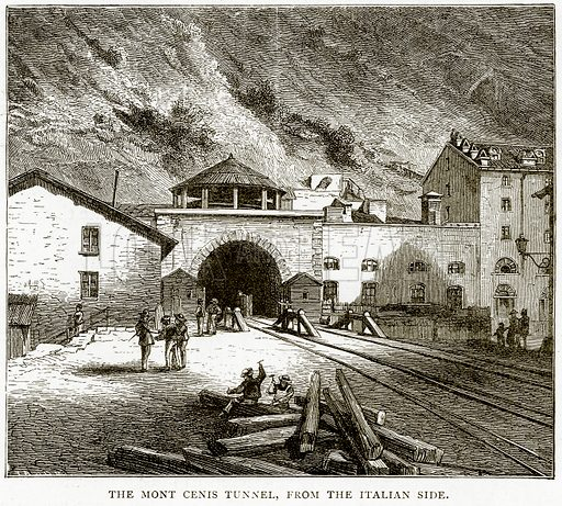 The Mont Cenis Tunnel, from the Italian Side. Illustration from Italian Pictures by Samuel Manning (Religious Tract Society, c 1880).