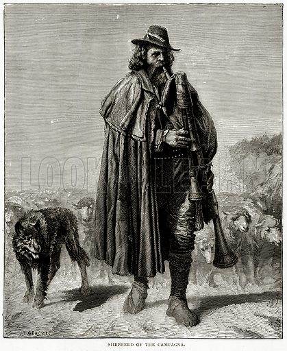 Shepherd of the Campagna. Illustration from Italian Pictures by Samuel Manning (Religious Tract Society, c 1880).