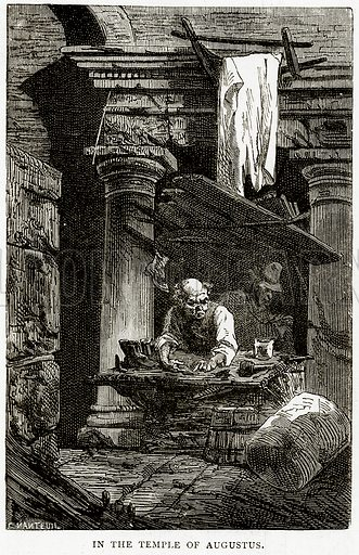In the Temple of Augustus. Illustration from Italian Pictures by Samuel Manning (Religious Tract Society, c 1880).