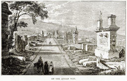 On the Appian Way. Illustration from Italian Pictures by Samuel Manning (Religious Tract Society, c 1880).