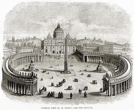 General view of St Peter's and the Vatican. Illustration from Italian Pictures by Samuel Manning (Religious Tract Society, c 1880).