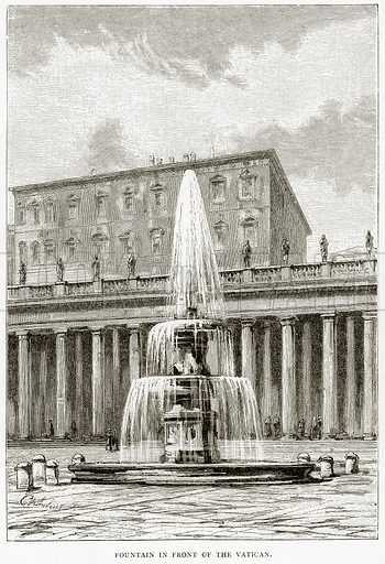Fountain in front of the Vatican. Illustration from Italian Pictures by Samuel Manning (Religious Tract Society, c 1880).