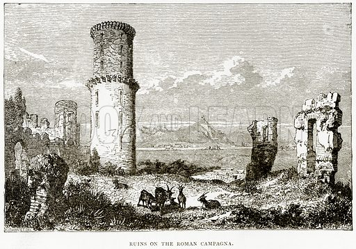 Ruins on the Roman Campagna. Illustration from Italian Pictures by Samuel Manning (Religious Tract Society, c 1880).