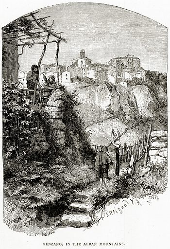 Genzano, in the Alban Mountains. Illustration from Italian Pictures by Samuel Manning (Religious Tract Society, c 1880).