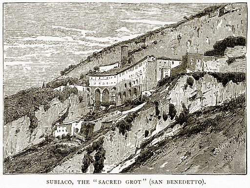 """Subiaco, the """"Sacred Grot"""" (San Benedetto). Illustration from Italian Pictures by Samuel Manning (Religious Tract Society, c 1880)."""