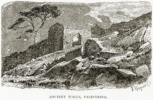 Ancient Walls, Palestrina. Illustration from Italian Pictures by Samuel Manning (Religious Tract Society, c 1880).