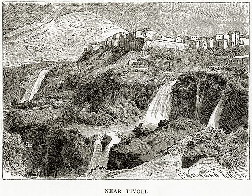 Near Tivoli. Illustration from Italian Pictures by Samuel Manning (Religious Tract Society, c 1880).