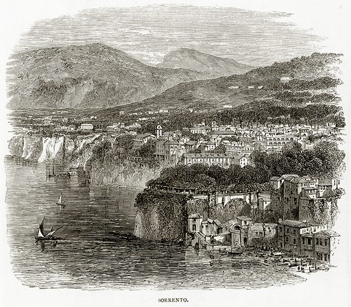 Sorrento. Illustration from Italian Pictures by Samuel Manning (Religious Tract Society, c 1880).