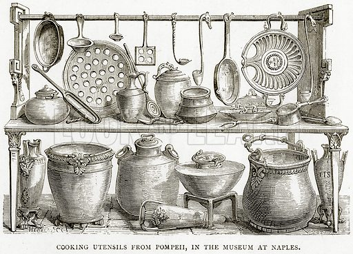 Cooking Utensils from Pompeii, in the Museum at Naples. Illustration from Italian Pictures by Samuel Manning (Religious Tract Society, c 1880).