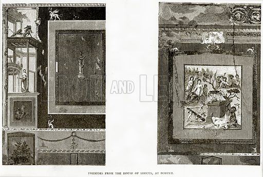 Frescoes from the House of Siricus, at Pompeii. Illustration from Italian Pictures by Samuel Manning (Religious Tract Society, c 1880).