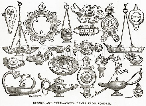 Bronze and Terra-Cotta Lamps from Pompeii. Illustration from Italian Pictures by Samuel Manning (Religious Tract Society, c 1880).