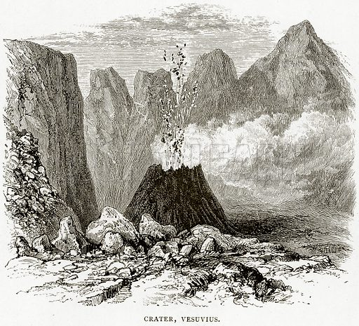 Crater, Vesuvius. Illustration from Italian Pictures by Samuel Manning (Religious Tract Society, c 1880).