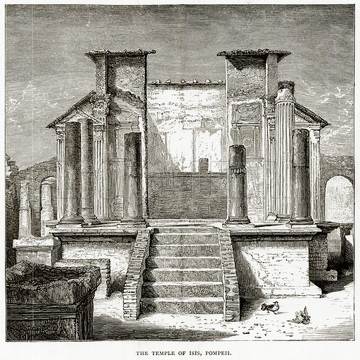 The Temple of Isis, Pompeii. Illustration from Italian Pictures by Samuel Manning (Religious Tract Society, c 1880).