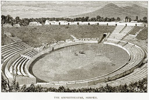 The Amphitheatre, Pompeii. Illustration from Italian Pictures by Samuel Manning (Religious Tract Society, c 1880).