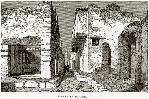 Street in Pompeii. Illustration from Italian Pictures by Samuel Manning (Religious Tract Society, c 1880).