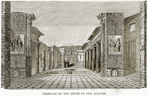 Peristyle of the House of the Questor. Illustration from Italian Pictures by Samuel Manning (Religious Tract Society, c 1880).