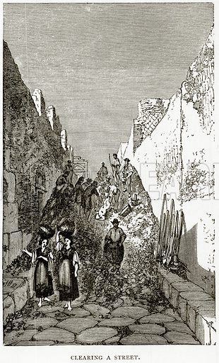 Clearing a street. Illustration from Italian Pictures by Samuel Manning (Religious Tract Society, c 1880).
