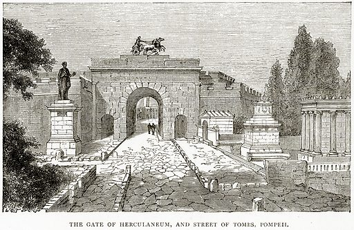 The Gate of Herculaneum, and Street of Tombs, Pompeii. Illustration from Italian Pictures by Samuel Manning (Religious Tract Society, c 1880).