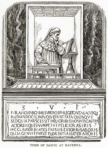 Tomb of Dante at Ravenna. Illustration from Italian Pictures by Samuel Manning (Religious Tract Society, c 1880).