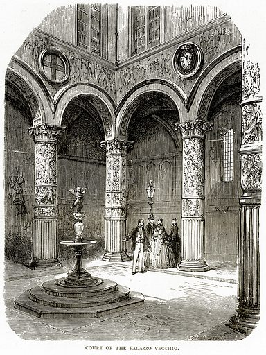 Court of the Palazzo Vecchio. Illustration from Italian Pictures by Samuel Manning (Religious Tract Society, c 1880).