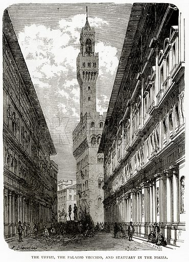 The Uffizi, the Palazzo Vecchio, and Statuary in the Piazza. Illustration from Italian Pictures by Samuel Manning (Religious Tract Society, c 1880).