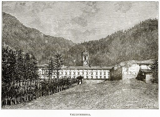 Vallombrosa. Illustration from Italian Pictures by Samuel Manning (Religious Tract Society, c 1880).