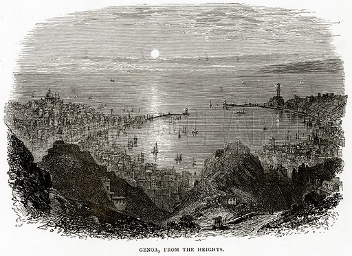 Genoa, from the Heights. Illustration from Italian Pictures by Samuel Manning (Religious Tract Society, c 1880).