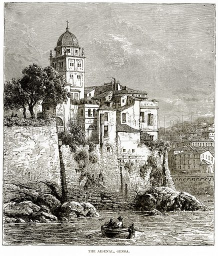 The Arsenal, Genoa. Illustration from Italian Pictures by Samuel Manning (Religious Tract Society, c 1880).