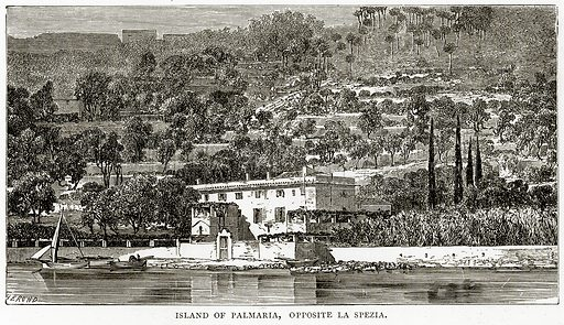 Island of Palmaria, opposite La Spezia. Illustration from Italian Pictures by Samuel Manning (Religious Tract Society, c 1880).
