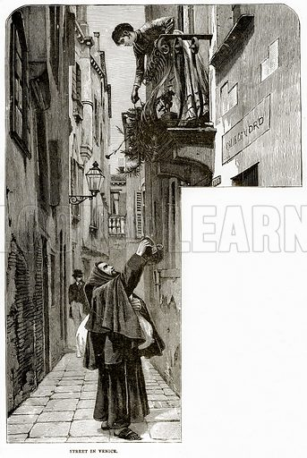 Street in Venice. Illustration from Italian Pictures by Samuel Manning (Religious Tract Society, c 1880).